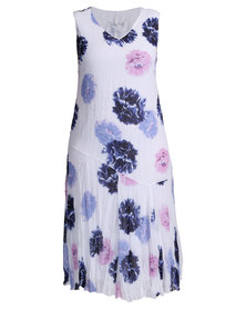 Queenspark Pretty Floral Crushed Woven Dress White