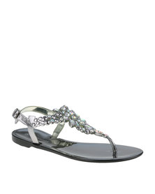 Queenspark Heavily Jewelled Jelly Ankle Strap Sandal Black