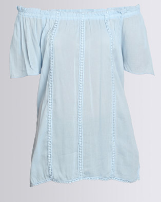 Queenspark Woven Casual Blouse With Detailing Blue