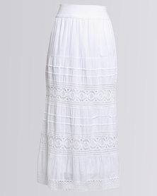 Queenspark Comfy Casual Woven Skirt White