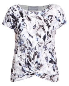 Queenspark Feather Print Knit Top Blue