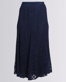 Queenspark Long Lace Woven Skirt Navy