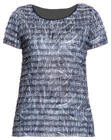 Queenspark Navy Print Eyelash Knit Top Blue