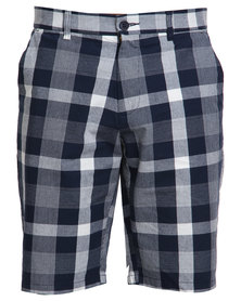 Queenspark Check Belted Shorts Navy