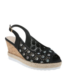 Queenspark Medium Heel Punch Out Sling Back On Cork Cleated Black
