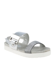 Queenspark Flat Comfortable Chunky Buckle Double Strap Sandal Silver