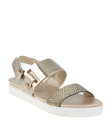Queenspark Flat Comfortable Chunky Buckle Double Strap Sandal Gold