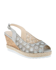 Queenspark Medium Heel Punch Out Sling Back On Cork Cleated Silver