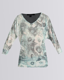 Queenspark Cath.Nic Floral Mesh Knit Top Multi