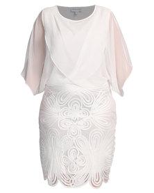 Queenspark Chiffon Cornelli Combo Knit Dress Cream