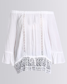 Queenspark Cath.Nic Lace Detail Short Sleeve Woven Blouse White