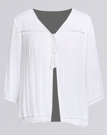 Queenspark Cath.Nic Embroidered Woven Jacket White