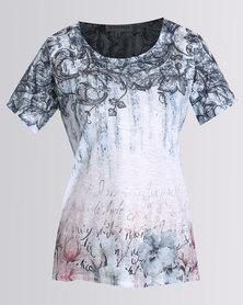 Queenspark Casual Knit Paislywood Printed Fashion T-shirt Blue