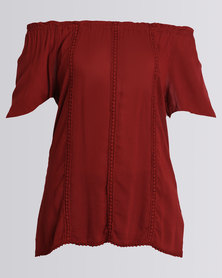 Queenspark Woven Casual Blouse With Detailing Red