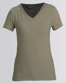 Queenspark V-Neck Short Sleeve Mesh Knit Top Khaki