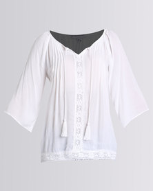 Queenspark Gypsy Tassel Woven Casual Blouse White