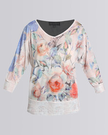 Queenspark Floral Fantasy Mesh Knit Top White