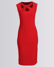 Queenspark Flash Beaded Knit Dress Red