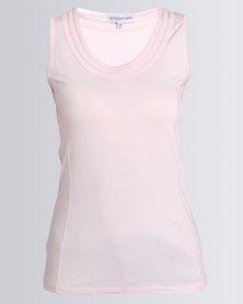 Queenspark Round Neck Core Knit Top Pink