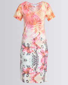Queenspark Palm Tree Printed Knit Dress Orange