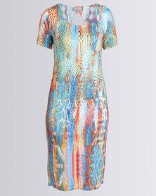 Queenspark Animal Knit Dress Multi