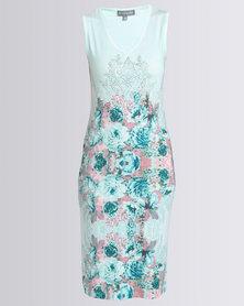 Queenspark Border Print Knit Dress Aqua