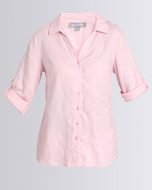 Queenspark Embroidered Linen Woven Shirt Pink