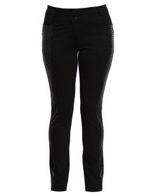 Queenspark Cath. Nic Black Ponti Printed Detail Knit Black