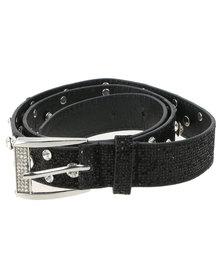 Queenspark Diamante & Glitter Lurex Belt Black