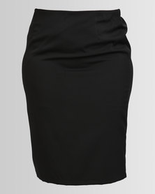 Queenspark Styled Pencil Woven Skirt Black