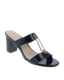 Queenspark Medium Heel Patent Sandal With Rectangle Hardware Navy