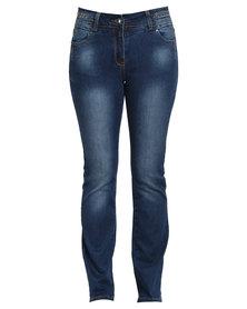 Queenspark Woven Denim Jean With Stud Detail Indigo