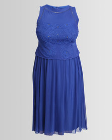 Queenspark Plus Beaded Cornelli Overlay Mesh Knit Dress Cobalt