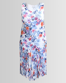 Queenspark Plus Multi Floral Crushed Woven Dress White