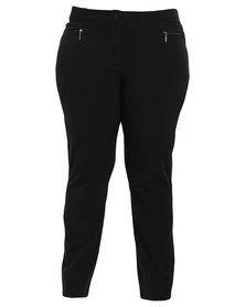 Queenspark Plus Collection Zip Detail Woven Pants Navy Blue