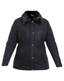 Queenspark Plus Collection Faux Fur Puffer Woven Jacket Navy