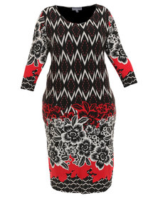 Queenspark Plus Collection Diamond Border Printed Knit Dress Multi