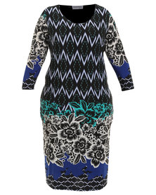 Queenspark Plus Collection Diamond Border Printed Knit Dress Multi