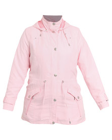 Queenspark Plus Collection Hooded Sueded Woven Jacket Pink