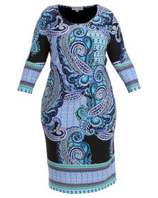 Queenspark Plus Collection Border Printed Knit Dress Blue