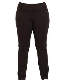 Queenspark Plus Collection Pocket Trim Knit Pants Brown