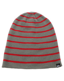 Quiksilver Vegas Stripe Beanie Grey and Red