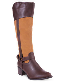 Rage Faux Leather High-Heeled Riding Boots Brown