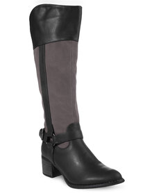 Rage Faux Leather High-Heeled Riding Boots Black