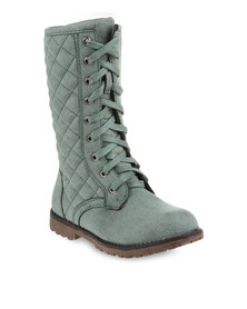 Rage Quilted Boots Green