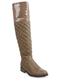 Rage Quilted Riding Boots Taupe