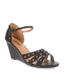 Rage Studded Wedge Heels Black