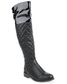 Rage Quilted Riding Boots Black