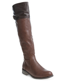 Rage Two-Tone Riding Boots Brown
