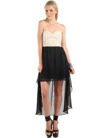 Rare London Sweetheart Pu Dress Black/White